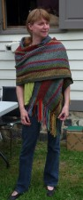 In the 2012 Sheep to Shawl competition at Joseph Schneider Haus, a team of five spun from fleece, wove, and finished this winning shawl in four hours.