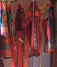 The Guild includes handwoven tea towels as part of its display at Five Counties.