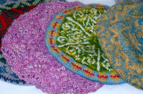 Some of these handspun and hand-knitted tams are made using natural dyes such as indigo and onion skins.
